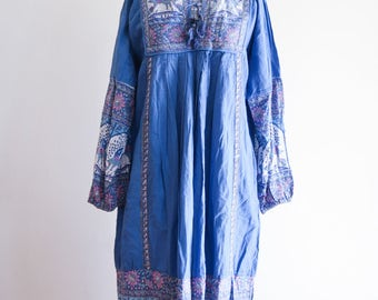 Gorgeous PEACOCK ethereal boho hippie 60s / 70s festival dress sz. Small / Medium Made in India