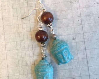 CLEARANCE SALE Budda Earrings, Turquoise Blue Magnesite, Wood