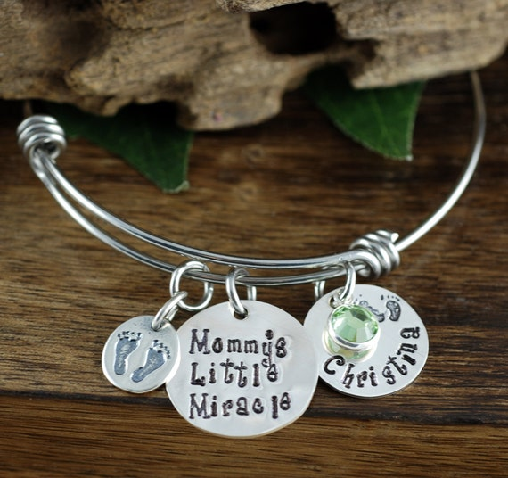 Mommy's Little Miracle, Mother's Bracelet, Mom Charm Bracelet, Mothers Day GIft, Name Bracelet, Gift for Mom, New Mom Jewelry