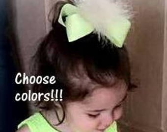 Girls hairbows, Hair Bows, feather Bow, Lot Set of 2, Wedding hairbow, Flower Girl Bows, Party hair Bow, Marabou Bows, You Pick your colors