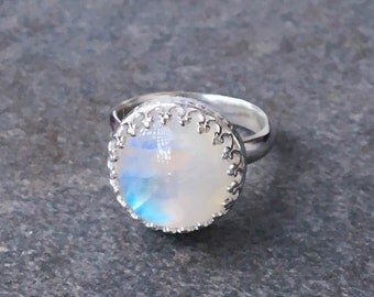 Rings, Moonstone Ring, Rainbow Moonstone Ring, Moonstone Stacking Ring, Sterling Silver Ring, Ready to Ship