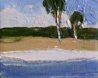 Miniature Impressionist Painting 4x4 FLORIDA BEACH Palm Trees LANDSCAPE Lynne French Art