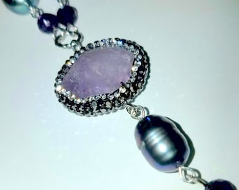 Reserved for Suzanne.   Amethyst and Black Pearls