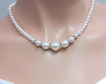 Pearl Choker Necklace, Choker Necklace, White Pearl Bridal Necklace, Mother of the Groom Gift, Mother of the Bride Necklace