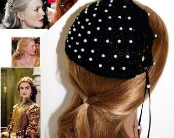 Reenactment, Renaissance Sparkle BLACK Scalloped edge Juliet cap,Beaded,Borgias inspired,Medieval,headpiece, headdress, Elizabethan ,Maiden,