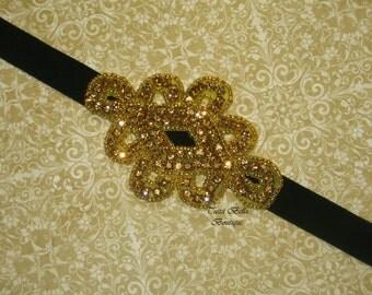 Gold and Black Headband, Gold Rhinestone Baby Headband, Flower Girl Headband, Black Velvet Headband, Toddler Headband, Bridesmaid Headband