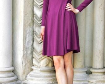 Marion Little Flared Dress - purple dress - long sleeve dress - day dress - knee length dress - square neckline