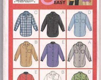 Butterick 3198 Misses Shirt Pattern Casual Wear Nine Sew Easy Pattern 14 16 18