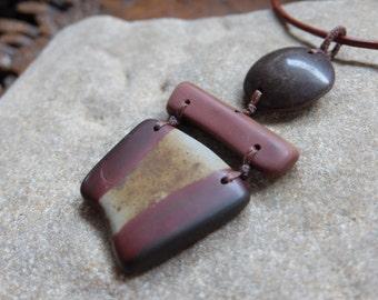 Large tribal Jasper. Iron stone pendant necklace - River stone jewellery. Earthy unique jewelry handmade from natural stone. Auastralian art