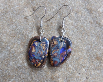 Boulder Opal earrings - earthy stone meets precious Opal -  handmade in Australia by NaturesArtMelbourne