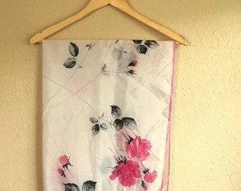 Vintage White FLORAL Scarf / PINK And BLACK Rose Scarf / 30 x 30