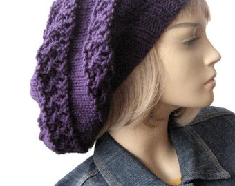 Custom Lace Striped Slouchy Hat, The Stacey Hat, Made to Order, Winter Hand Knitted Hat,Womens Accessories Winter Fashion