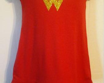 Girl Super Hero Wonder Woman Birthday Ruffle Dress 12 months thru girls 6x