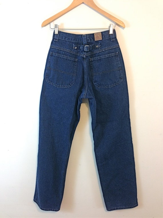 Vintage 90s Riders Mom Jeans Super High Waisted Trousers High Rise 1990s Dark Blue Wash Denim Pants Buckle Back Wide Tapered Leg Size 27