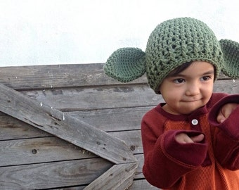star wars yoda inspired hoodie hood child toddler crochet hat