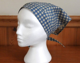 Gingham Kerchief, Adult Triangle Head Scarf, Cotton Bandanna, Blue and Beige Gingham