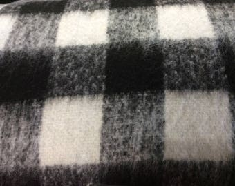 Black & White Plaid wool fabric  80% wool 20  acrylic