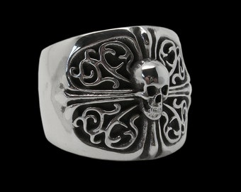 Sterling Silver Skull Ring Cross -  ALL SIZES