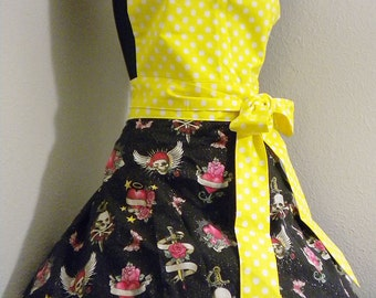 Glittery Tattoo Apron in Yellow