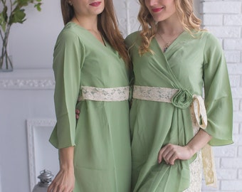 Sage Rosette Robes for your bridesmaids in Premium Silk Chiffon