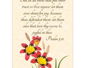 JOYFUL IN THEE - Psalm 5:11 - Christian Home Decor - Vintage Verses Calligraphy Wall Art - 5x7 Inspirational Wall Art Red & Yellow Corn Lily