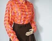 Vintage Silk Blouse Long Sleeve Secretary Blouse Silky Women's Shirt Orange Fish Size 8