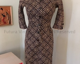 """1950s CANDY JONES Fitted Brown Tan and Blue Fleck Square Pattern Button Front Dress with Three Quarter Sleeves-32"""" Bust"""