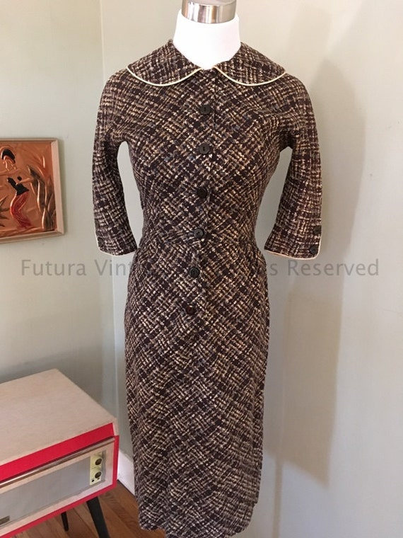 "1950s CANDY JONES Fitted Brown Tan and Blue Fleck Square Pattern Button Front Dress with Three Quarter Sleeves-32"" Bust"