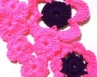 Destash - Grab bag, Flowers, Appliques, Embellishments, Acryllic, Crochet Flowers,
