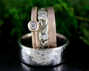 His and Her Engagement Ring Set, White Gold and Rose Gold Ring Set, Diamonds, Men's Wedding Band, Rustic, Hammered, Gypsy Set, Set of Three