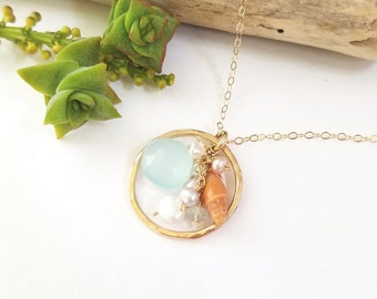 Gold Shell Necklace made in Hawaii by Tidepools Jewelry - Beachy shell jewelry. Hawaiian shell jewelry, beach wedding jewelry, Tide pools