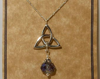 Sterling silver Trinity Knot pendant necklace with lilac purple Crystal