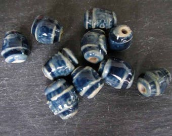 Beads Ceramic 'Shiny Glossy Blue Glazed' Patterned Beads Handmade Clay Pottery 549