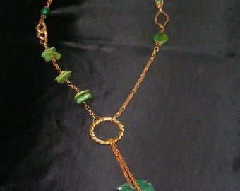 Adjustable Green Arrowhead Necklace