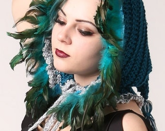 Turquoise Feathered Elf Witch Winter Hood