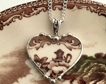 Broken china jewelry brown toile English Transferware recycled china jewelry heart pendant necklace
