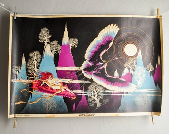 """Vintage Blacklight Poster """"El Condor""""  1970s Psychedelic Op-Art Amazing Fantasy Poster"""