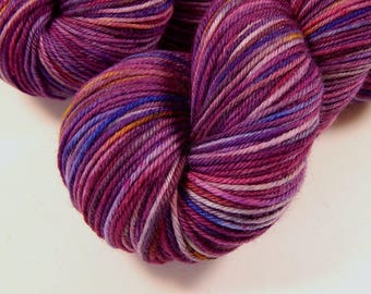 Hand Dyed Yarn - Sport Weight Superwash Merino Wool Yarn - Potluck Speckled Wild Orchid - Knitting Yarn, Sock Yarn, Sport Yarn, Speckles