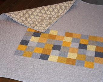 Gray and Yellow Modern Baby Quilt