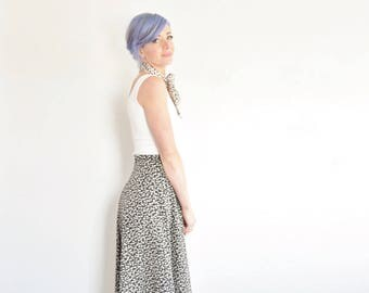 two piece high waist pattern skirt . invert negative black cream print midi .extra small.small.xs .donate good cause .sale
