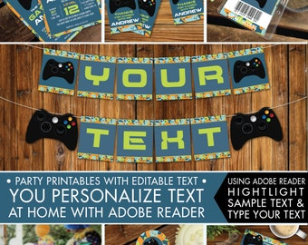 Video Game Party Printables, Invitations & Decor, Gamer Birthday, Video Game Full Collection, Blue Camo - INSTANT Download Printable PDFs