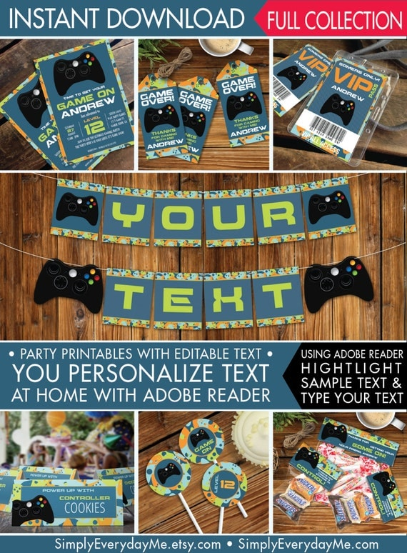 Video Game Party Printables Invitations Decor Gamer