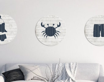 "nautical wall art, set of 3, nautical nursery, nautical decor, 18"" wall hanging, crab wall decor, cottage decor, navy crab, bathing suit"