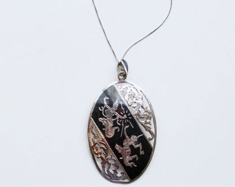 1940s Siam sterling large oval niello pin pendant / 40s vintage cut out silver Siam Thai goddess nielloware necklace