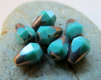 NEW TURQUOISE DROPS .  Czech Picasso Glass Beads . 8 mm by 6 mm (10)