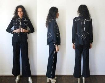 Studded Jacket and Pants / 70s Black Denim Suit with Studs Sz M