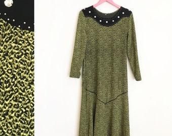 Vintage 1980s Green Leopard Print Rhinestone Long Sleeved Drop Waist Maxi Dress Size L