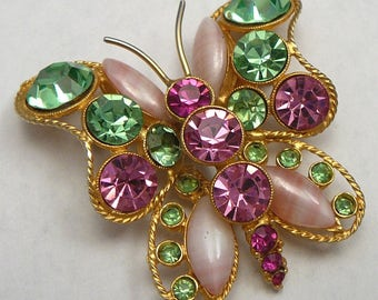 PInk Rhinestone & Art Glass Butterfly Brooch Vintage Pin Pin