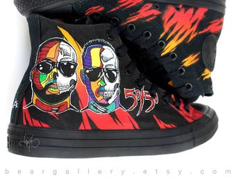 Custom Converse Shoes - Hand Painted Album Artwork