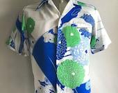 Vintage Men's 60's Malihini Hawaiian Shirt, Floral, Polyester, Short Sleeve (M)